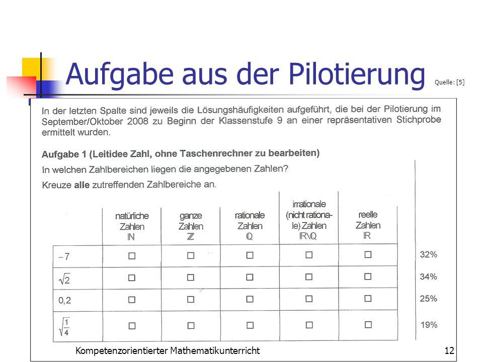 Aufgabe aus der Pilotierung Quelle: [5]